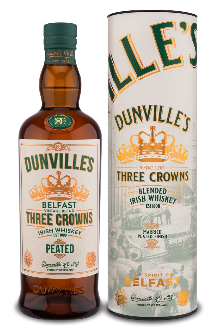 Dunville's Three Crowns Peated Irish Whiskey bottle and tube