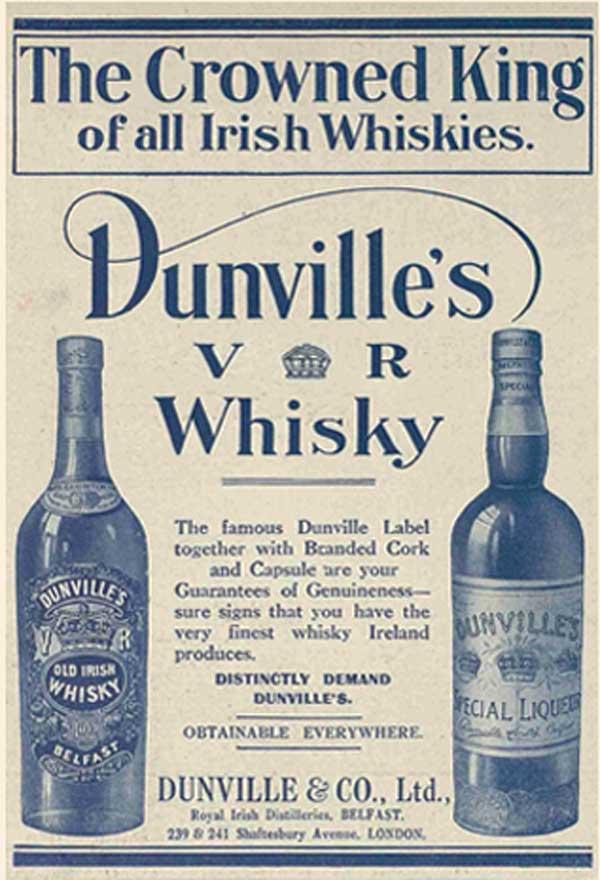Old newspaper ad Dunville's Crowned King of Irish Whiskies