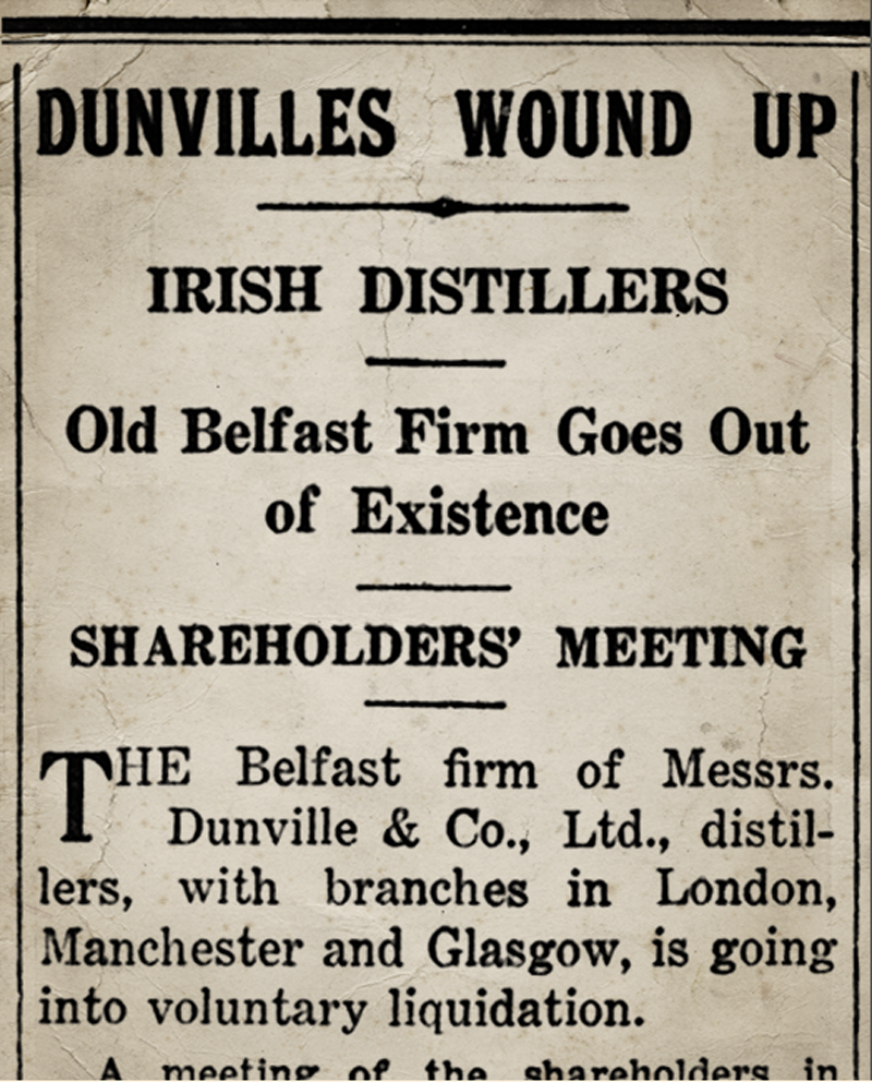 Newspaper cutting closure of Dunville's Whiskey 1936