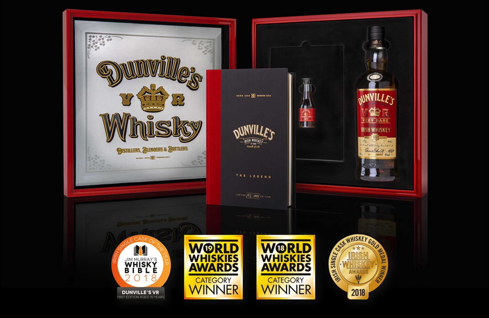 Dunville's Rum Finish Single Malt Whiskey Box With Awards