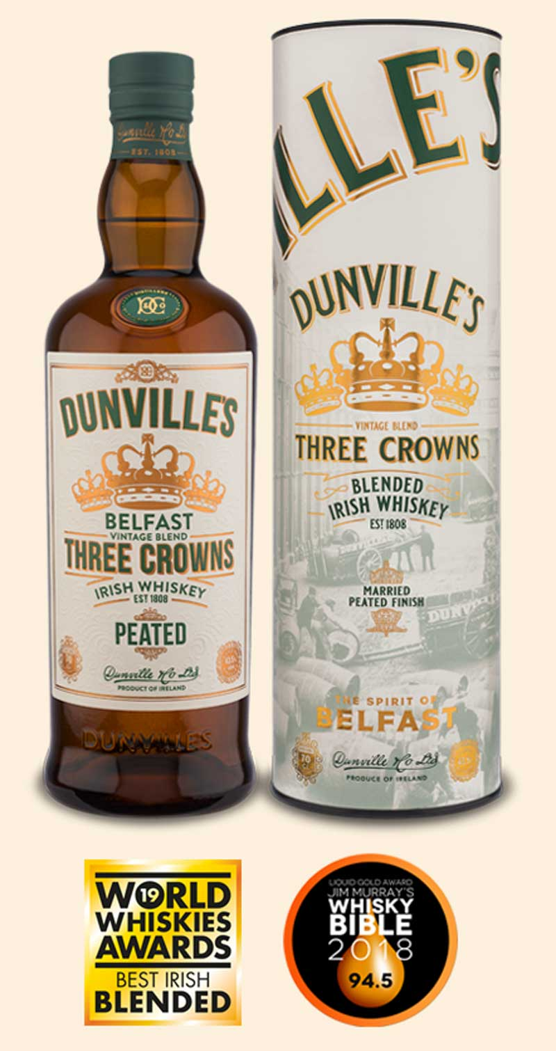 Dunville's Three Crowns Peated Irish Whiskey