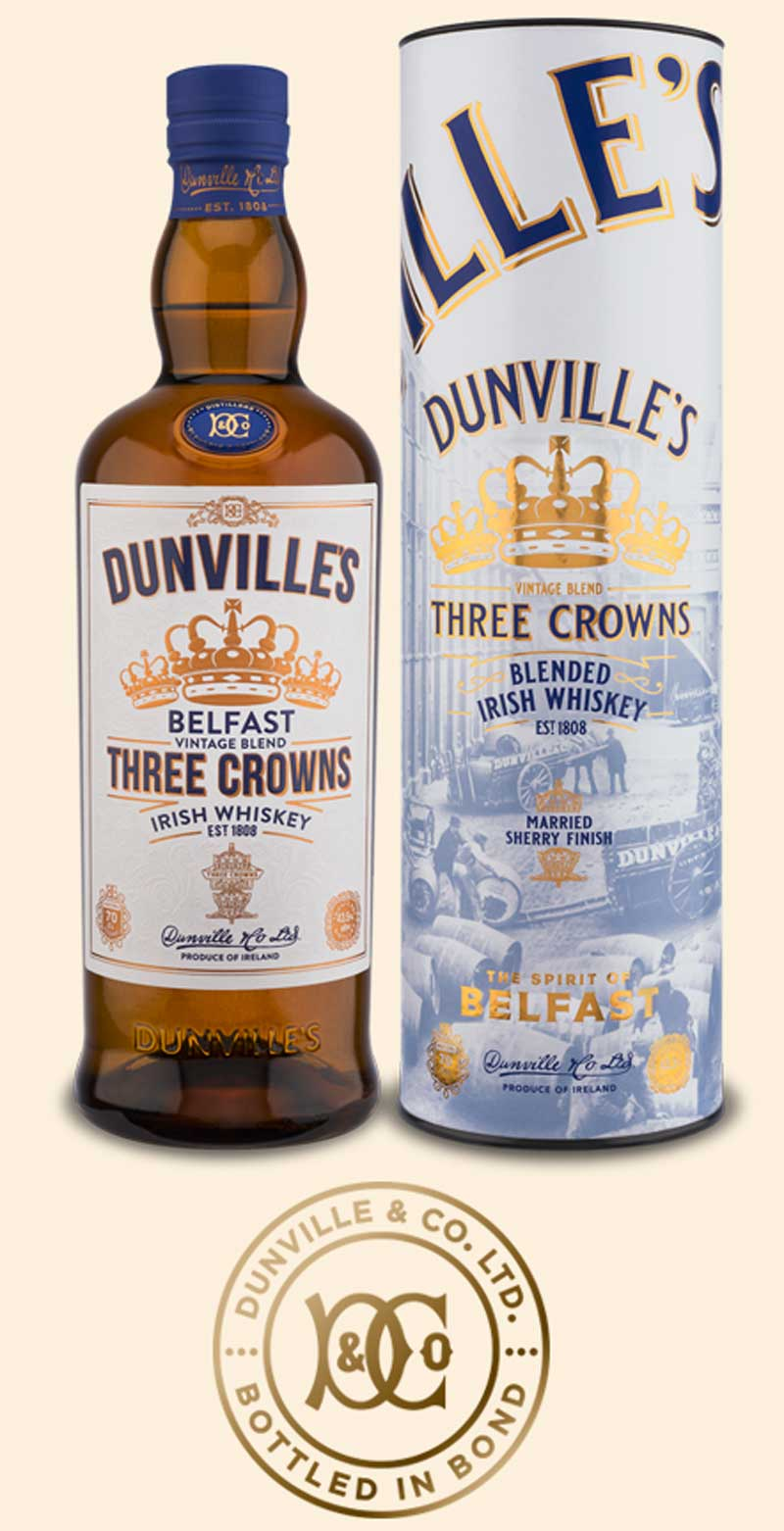 Dunville's Three Crowns Blended Irish Whiskey Bottle