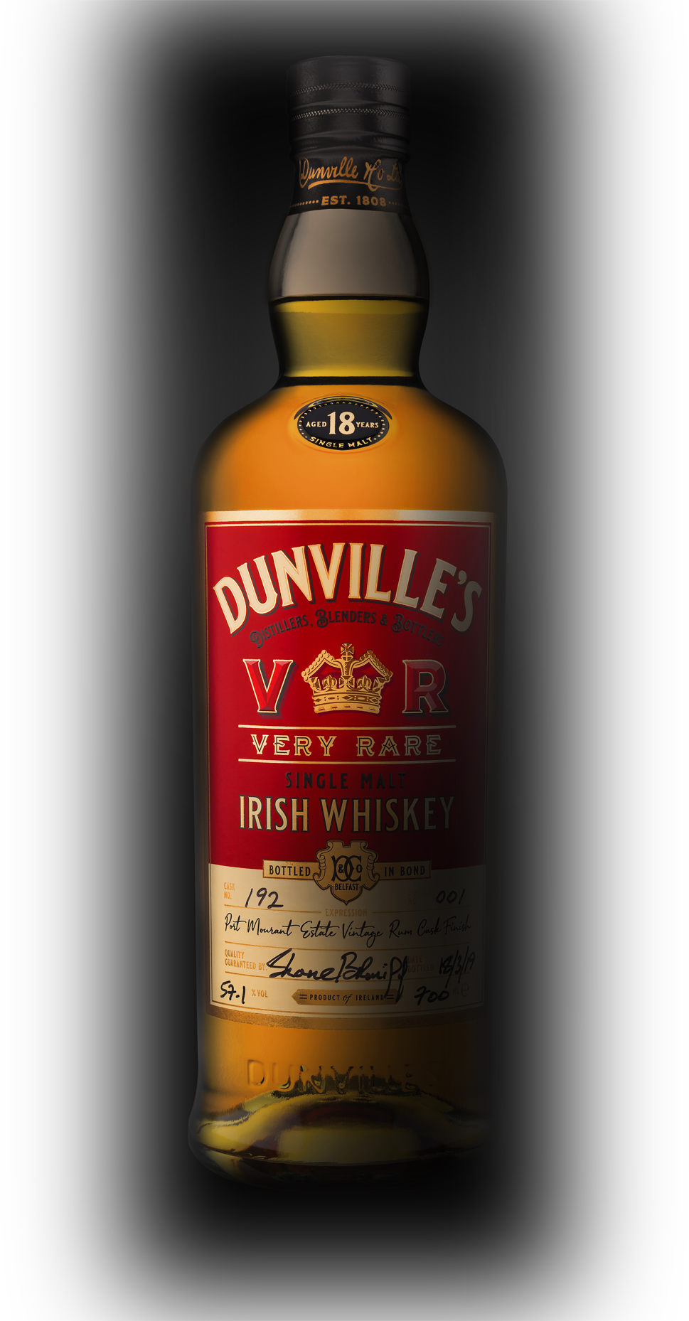 Dunville's VR 18 Year Old Rum Finish Single Malt Irish Whiskey bottle