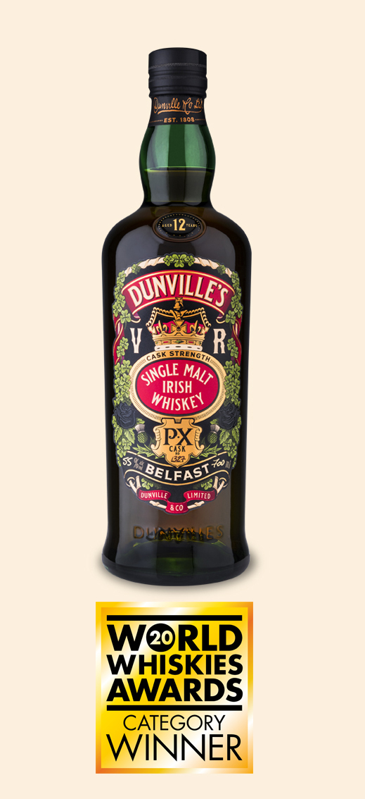 Dunville's PX 12 Cask Strength Irish Whiskey bottle with World Whiskies Awards