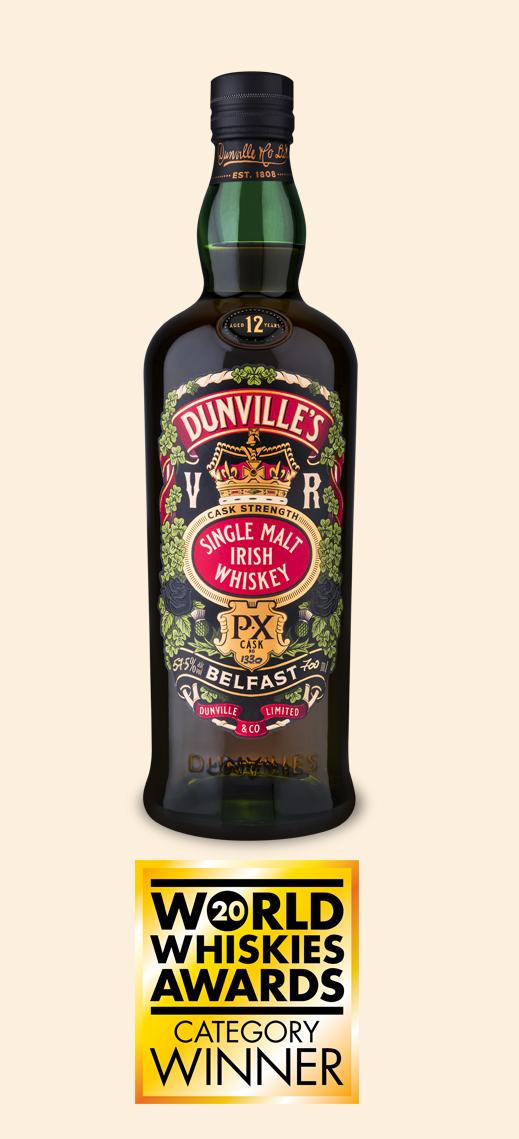 Dunville's PX 12 Cask Strength Irish Whiskey Cask 1330 bottle with World Whiskies Awards