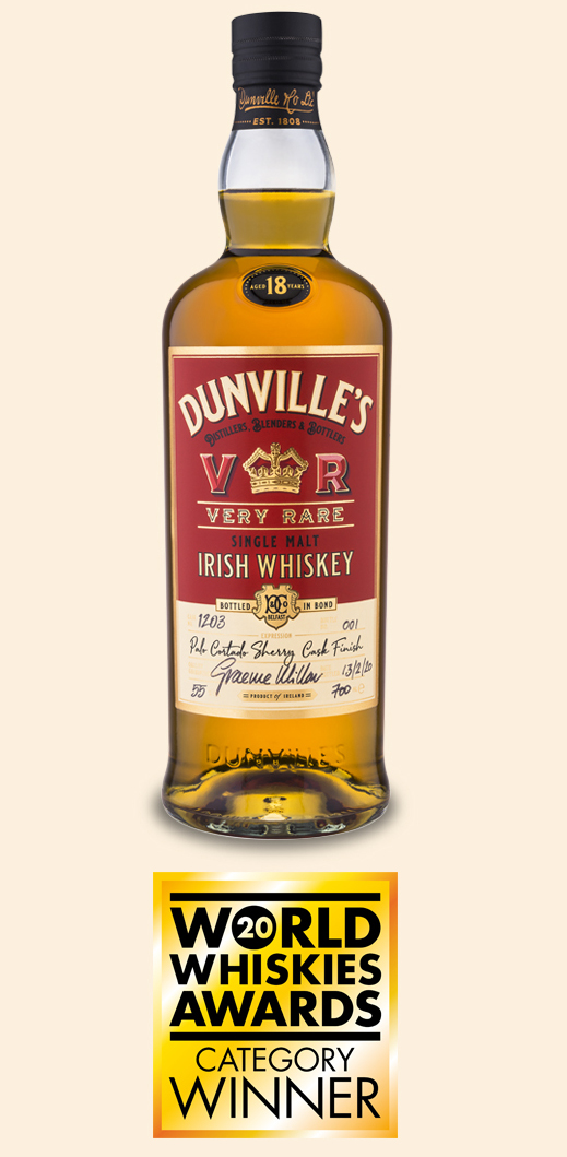 Dunville's VR Palo Cortado Sherry Finish Irish Whiskey Cask 1203 bottle with World Whiskies Award