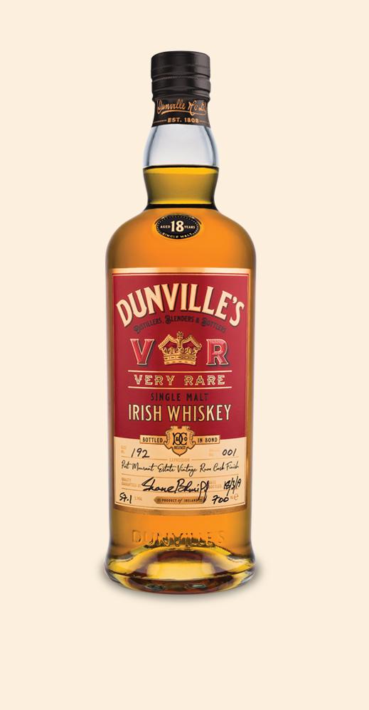 Dunville's VR 18 Year Old Rum Finish Single Malt Irish Whiskey bottle