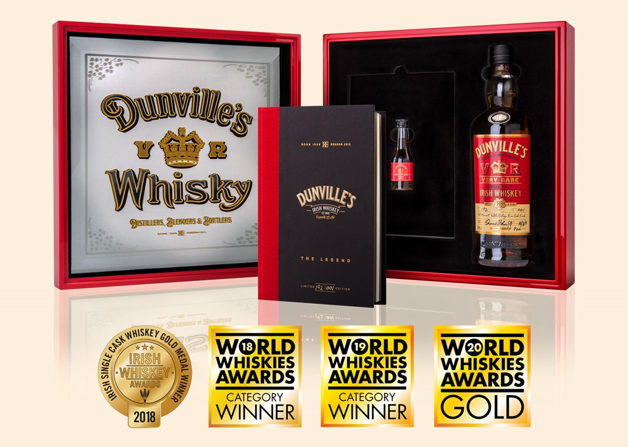 Dunville's VR Rum Finish 18 Year Old Irish Whiskey with presentation box and awards logos