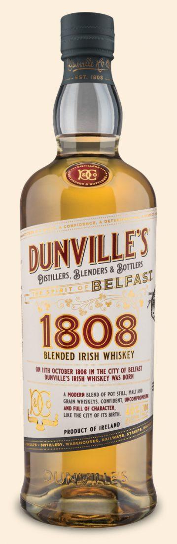 Dunville's 1808 Blended Irish Whiskey bottle on cream