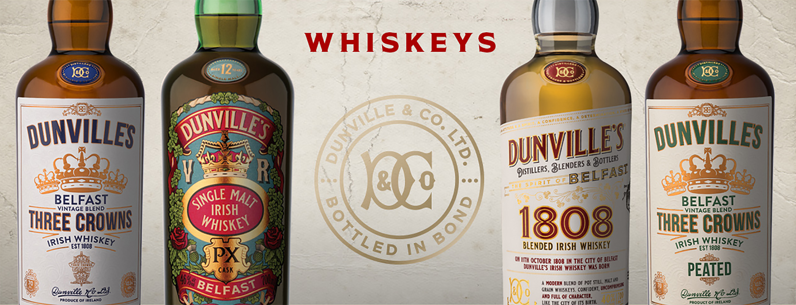 Dunville's Irish Whiskey bottle line up 2021